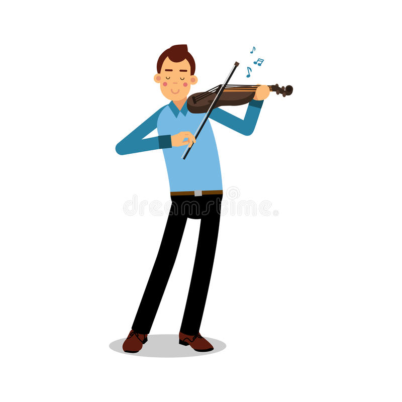 Young musician playing a violin cartoon character, violinist playing classical music vector Illustration. Isolated on a white background stock illustration