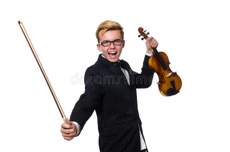 The young musician with violin isolated on white. Young musician with violin isolated on white royalty free stock photography