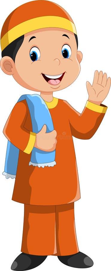 Young muslim boy cartoon. Vector illustration of young muslim boy cartoon vector illustration