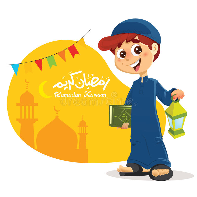 Young Muslim Boy Holding Quran Book. Happy Young Muslim Boy Holding Quran Book with Ramadan Lantern in Hand stock illustration