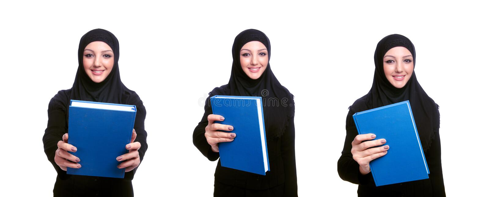 Young muslim woman with book on white. The young muslim woman with book on white stock photo