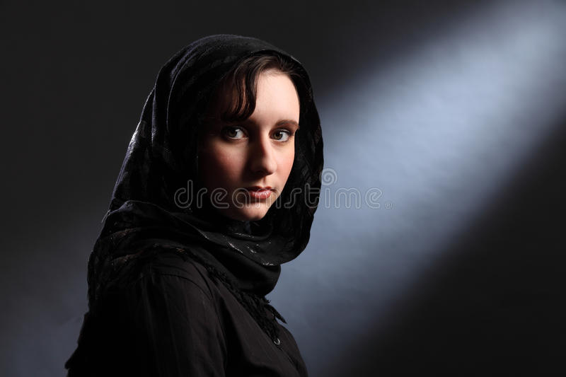 Download Young Muslim Woman In Hijab Has Quiet Moment Stock Photo - Image of veil, church: 18635698