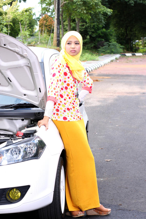 Young muslim woman waiting someone stock photography