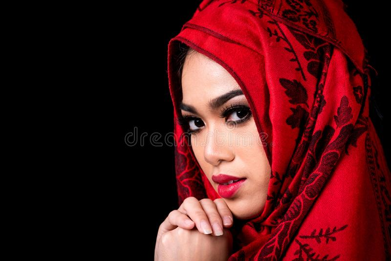 Young Muslim Women On Black Background Stock Photo Image Of Muslim
