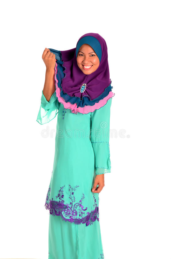 Young Muslimah in action on white background royalty free stock image