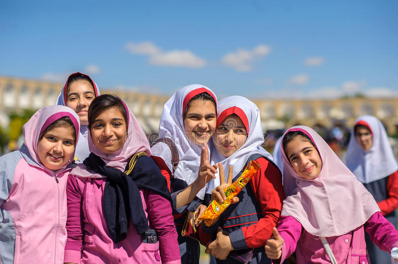 Young Muslims celebrate the termination of academic year royalty free stock images
