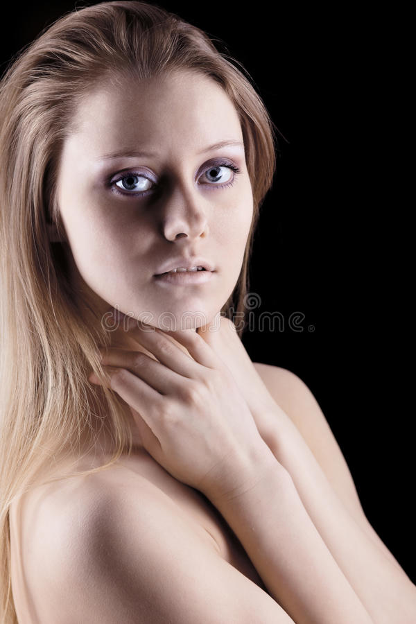 Young naked sadness girl look at you stock image