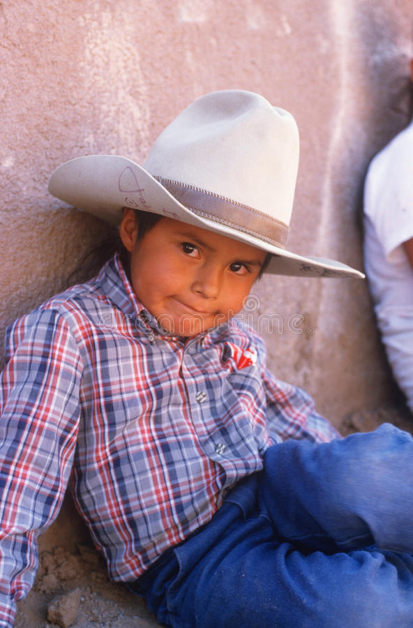 Young Native American boy sitting stock photography