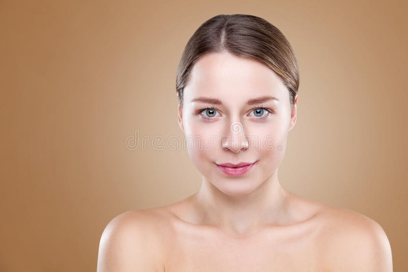 Young natural woman with great skin complexion. Young naturally beautiful woman with great skin complexion stock photo