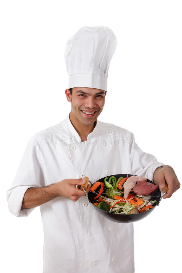 Young nepalese man chef, oriental food stock image