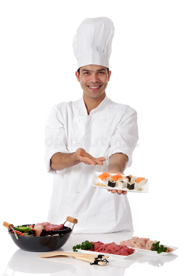 Young nepalese man chef, oriental food royalty free stock photos