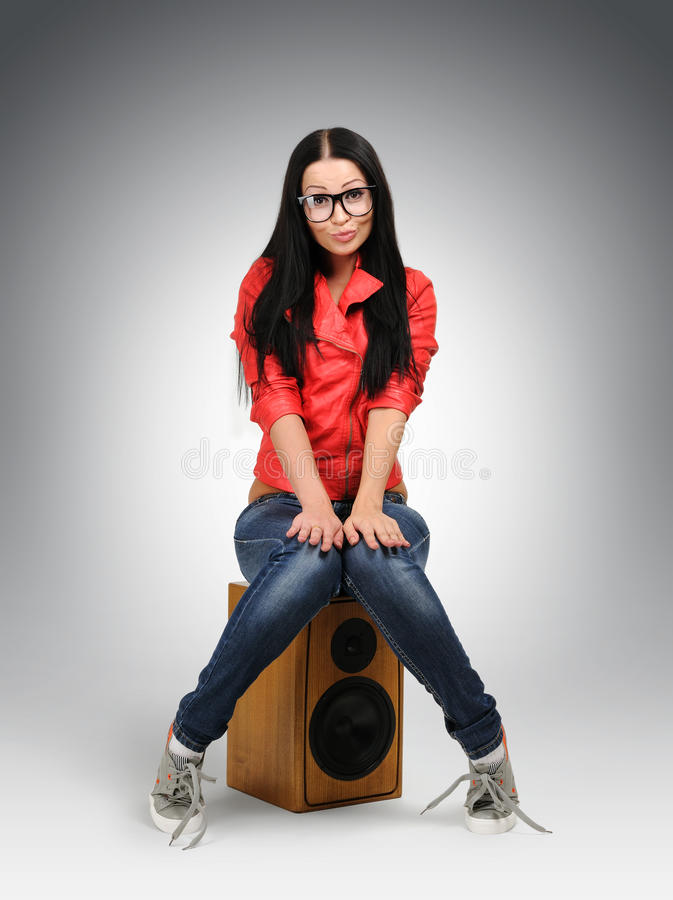 Download Young Nerd Fashion Girl In Large Glasses Stock Photo - Image: 22155184