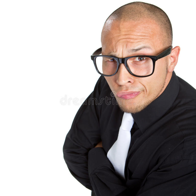 Young nerdy businessman. Isolated over white background. Fresh young male asian model royalty free stock photos