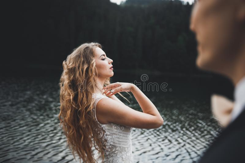 Young newly wed couple, bride and groom kissing, hugging on perfect view of mountains, blue sky.  royalty free stock image