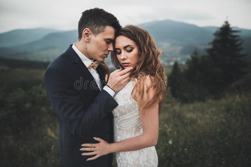 Young newly wed couple, bride and groom kissing, hugging on perfect view of mountains, blue sky.  stock images
