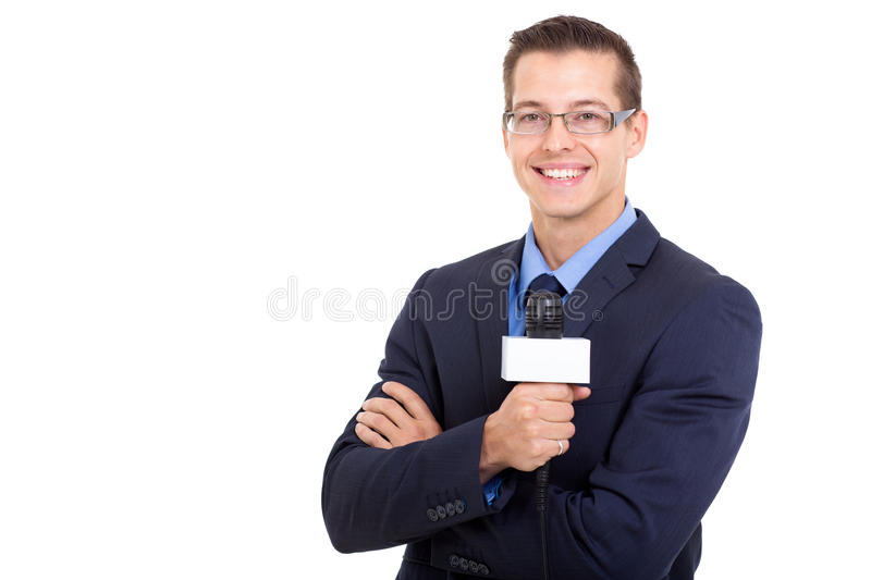 Download Young news reporter stock image. Image of joyful, male - 34934681