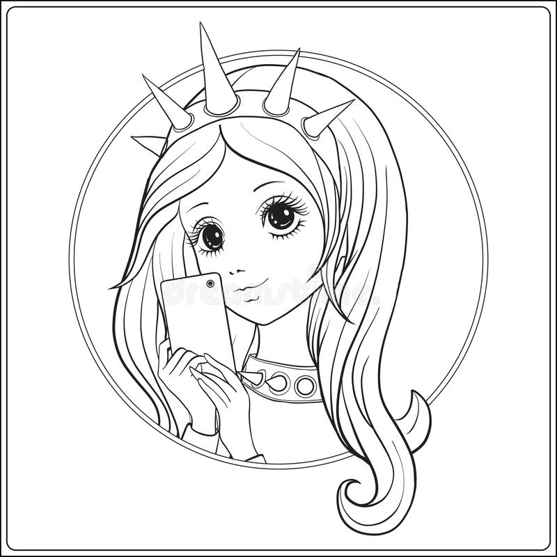 Young nice girl with Statue of Liberty Crown make selfie or phot. Ograph on a mobile phone. Outline drawing coloring page. Coloring book for adult. Stock vector vector illustration