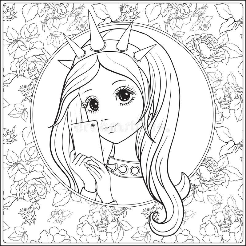 Young nice girl with Statue of Liberty Crown make selfie or phot. Ograph on a mobile phone. Outline drawing coloring page. Coloring book for adult. Stock vector royalty free illustration