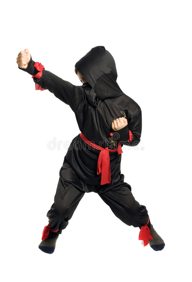 Young Ninja. On pure white background stock photo