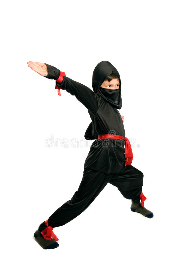 Young Ninja. On pure white background stock photos