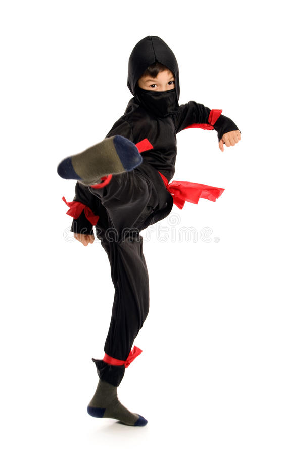 Young Ninja. On pure white background stock images