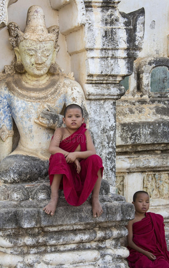 Bagan - Novice Monks - Myanmar (Burma) royalty free stock photo