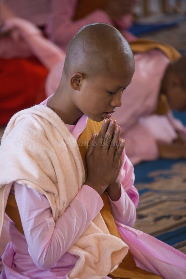Burmese Nun - Bago - Myanmar (Burma). A young novice Burmese Buddhist nun. Bago in Myanmar (Burma stock photo
