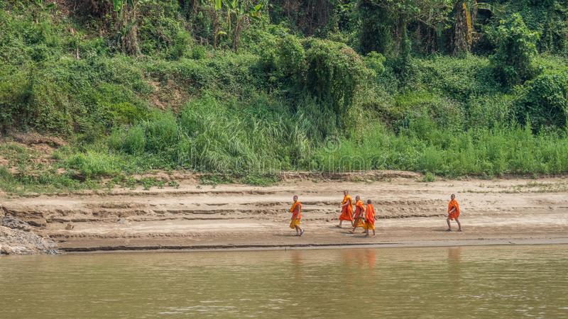 Young novice monks on river bank. Luang Phabang, Laos, Asia stock images