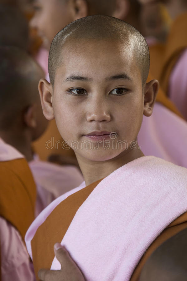 Young Novice Nun - Bago - Myanmar (Burma). A young novice Burmese Buddhist nun. Bago in Myanmar (Burma royalty free stock photography