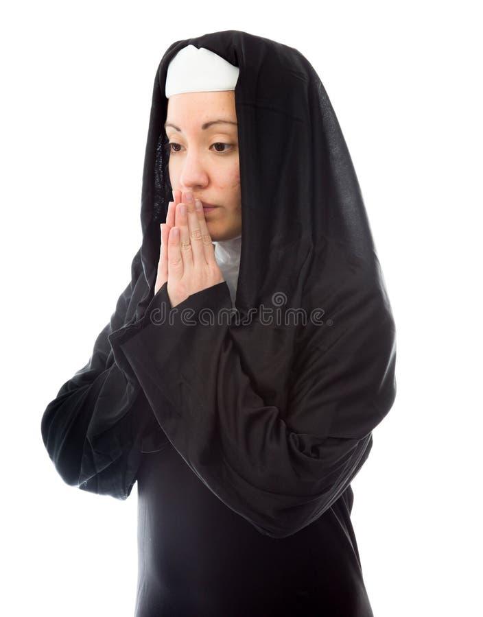 Young Nun Thinking Stock Photo