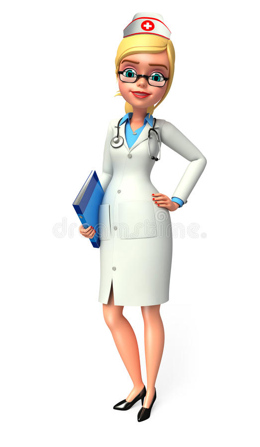 Download Young nurse with diary stock illustration. Image of hospital - 36970311