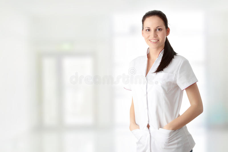 Young nurse or female doctor royalty free stock image