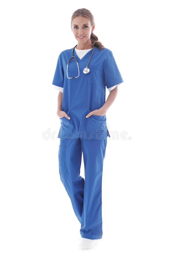 Young nurse full length portrait stock images