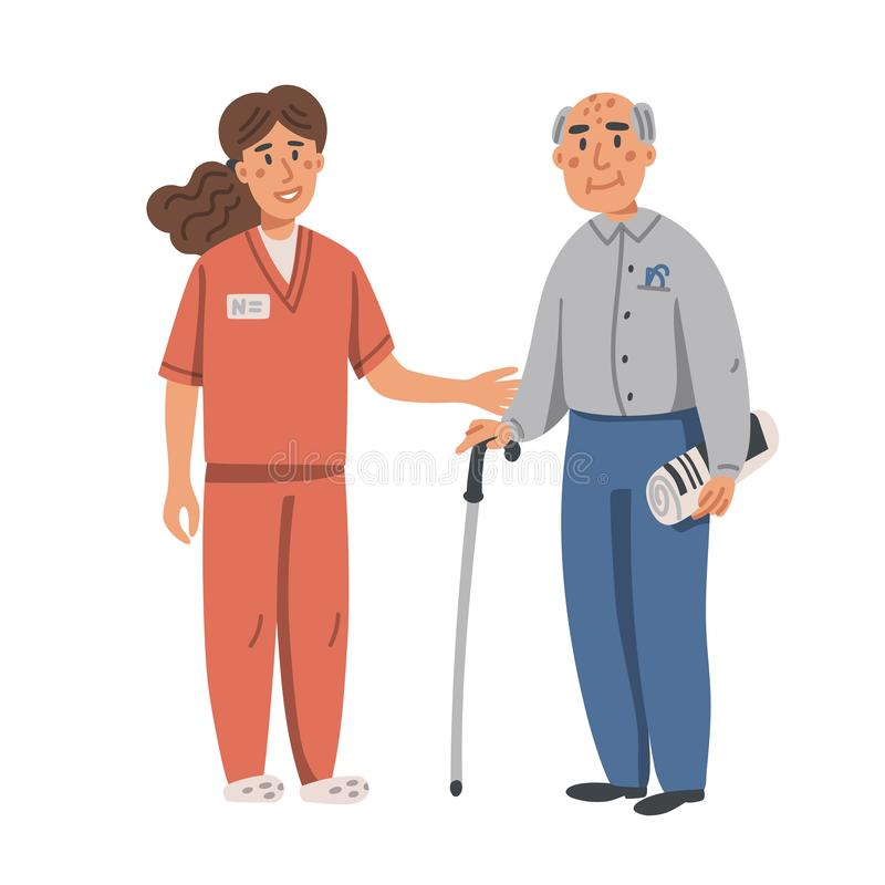 Young nurse helping and supporting elderly man. Yound woman and old man on white background. Nursing home. Senior people vector illustration