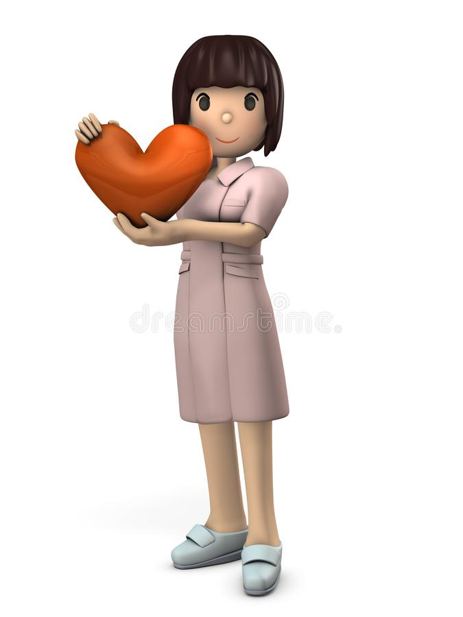 Young nurse holding a Heart mark. She expresses the heart of hospitality. White background. 3D illustration. A young Asian Woman. short hair. Her smile is cute vector illustration