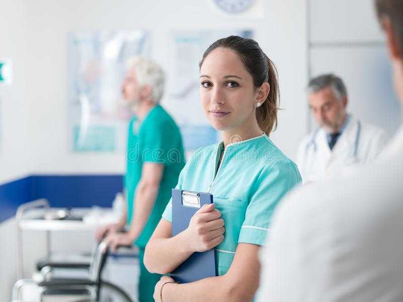 Young nurse working at the hospital stock photography