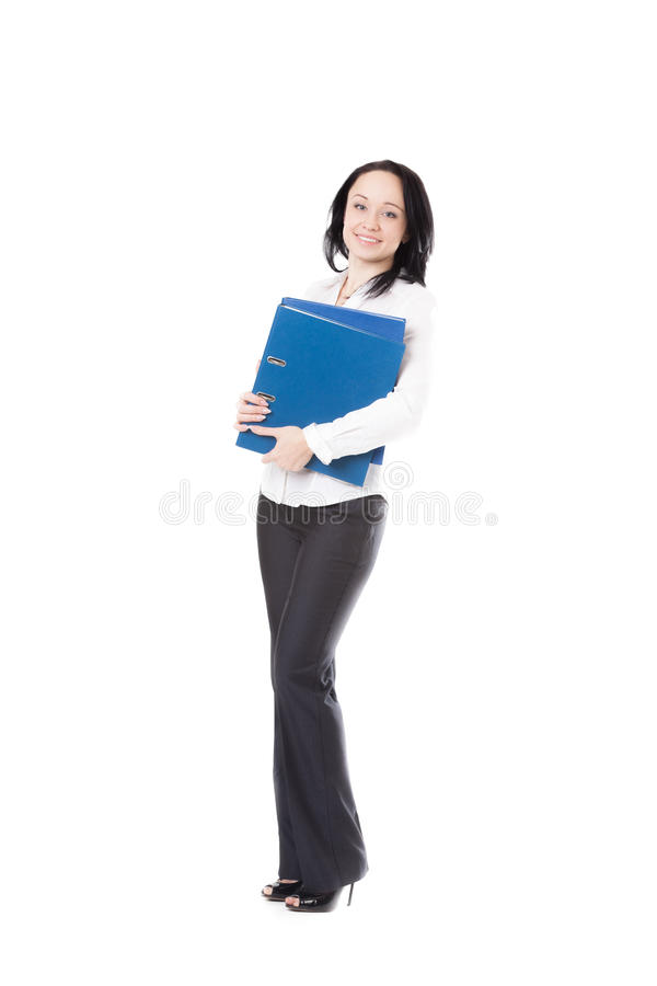 Young office woman holding document folders on white background royalty free stock photo