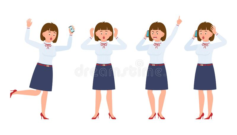 Young office worker lady running in shock, shouting, surprised, amazed, calling, talking stock illustration