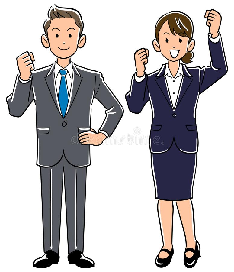 Young office worker male and female vector illustration