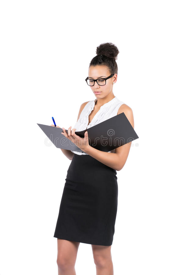 Download Young Office Worker Writes Into A File Stock Photo - Image: 36711822