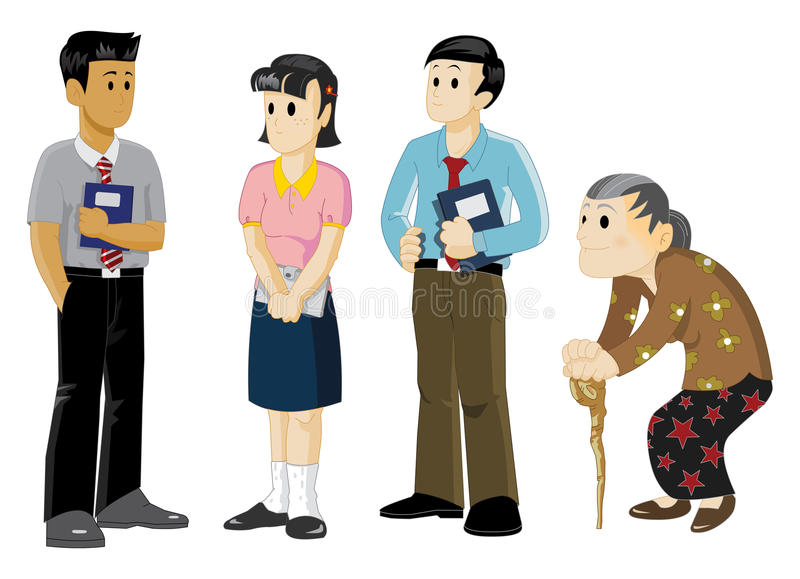 Young and Old. Young entrepreneur and Old woman with osteoporosis vector illustration