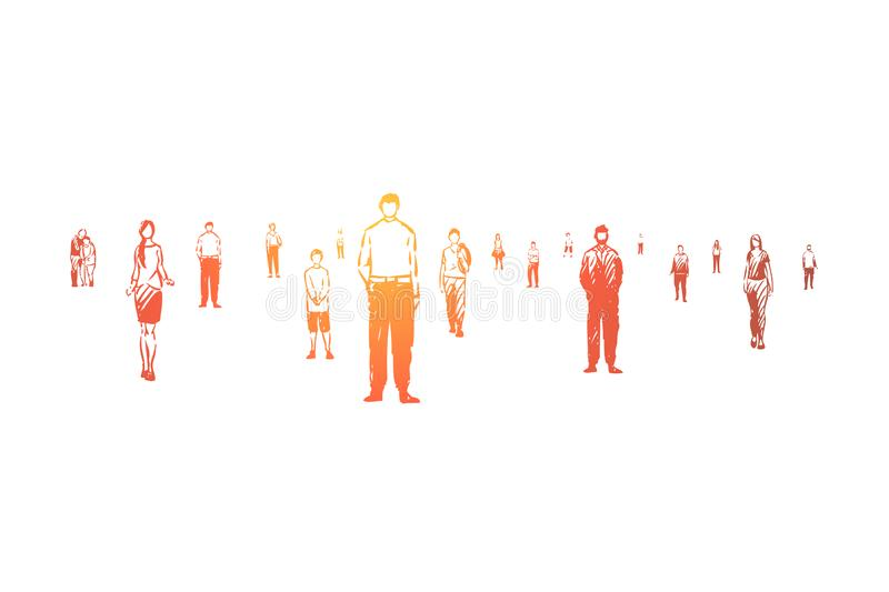 Young and old citizens, faceless men and women, diverse society, community, adults and little children. People standing scattered, social advertisement concept royalty free illustration