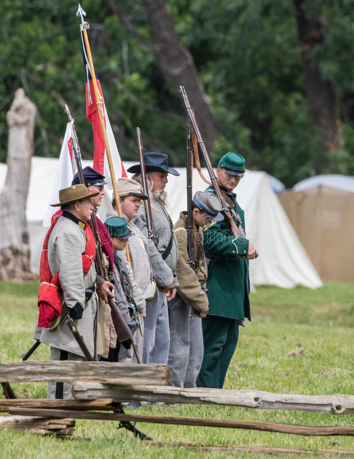 Young and Old Defend the South. Civil War era soldiers and at the Dog Island reenactment in Red Bluff, California royalty free stock photography