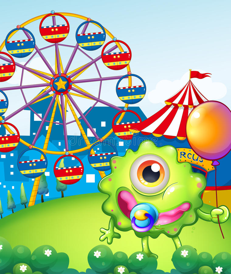 Download A Young One-eyed Monster Holding A Balloon Near The Carnival Stock Illustration - Image: 34462255