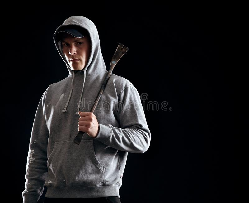 Young Outlaw Alone in the Dark royalty free stock photography