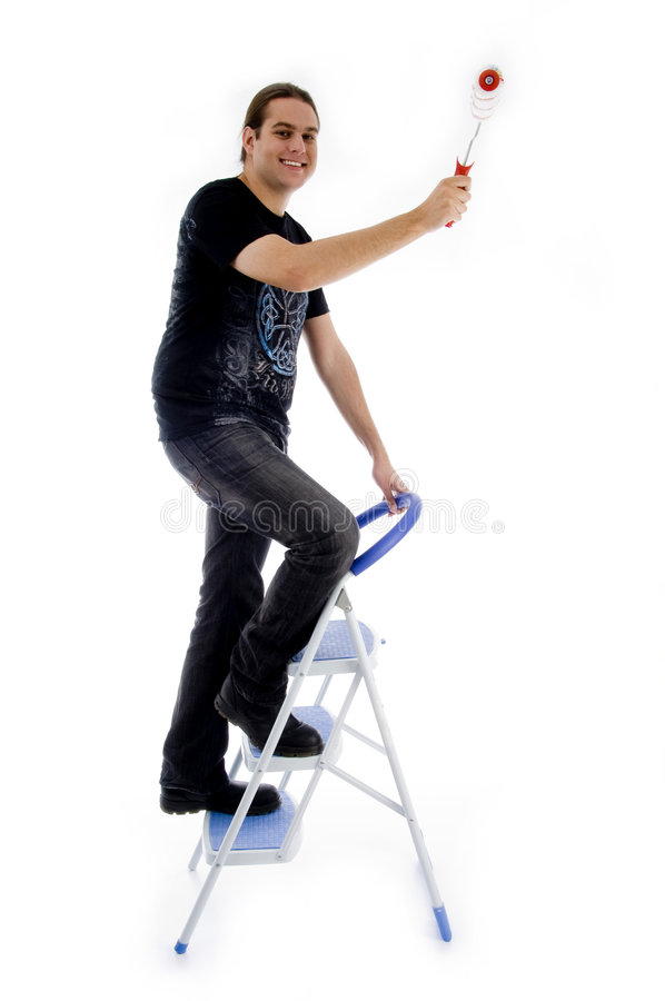Download Young Painter Standing On Ladder Stock Photo - Image: 7363452