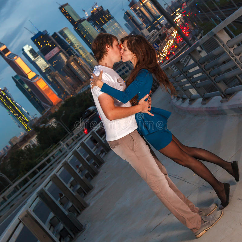 Young pair of lovers kissing stock photos