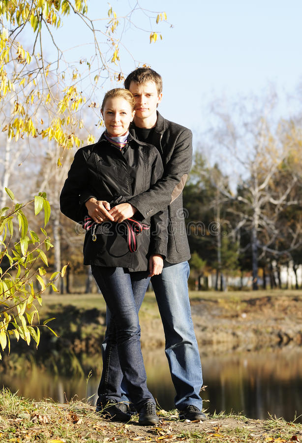 Young Pair Outdoors Stock Photography