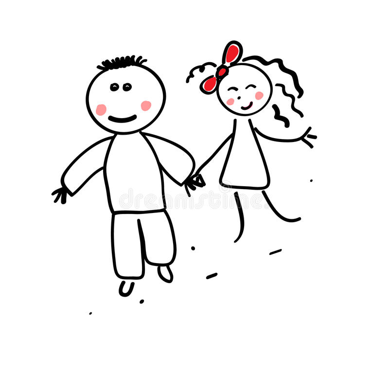 Young pair on a walk royalty free illustration