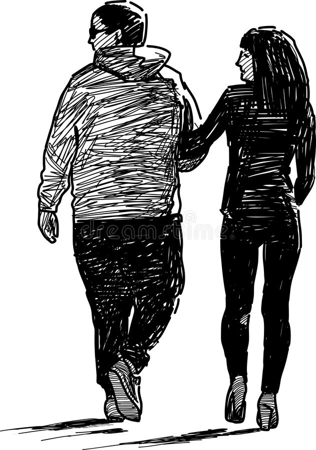Young pair on a walk stock illustration